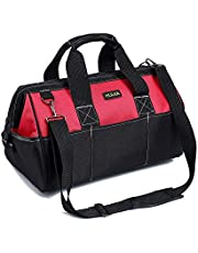HUIJIA Heavy Duty Tool Bag Tool Storage Bag Organiser for Hand/Power Tools Large with 600D Canvas, Shoulder Strap, Zip-Top and Wear-Resistant Rubber Base, Black
