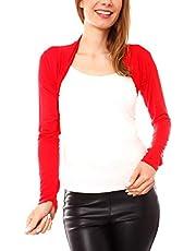 Easy Young Fashion Dames Jersey bolero jasje schouderjasje kort katoen lange mouwen