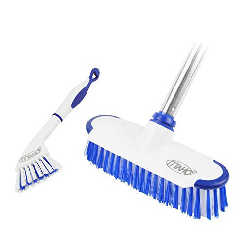ITTAHO Multi-Use Floor Scrub Brush with Long Handle,Extendable Grout Cleaner Brush for Tile Floor,Deck,Patio,Marble,Garage,Kitchen,Bathroom,Extra Small Deep Cleaning Brush