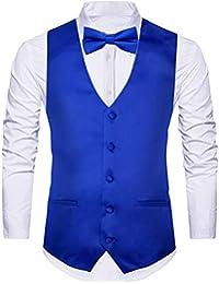 4 PCS Men's Vests Suit Vest Business Waistcoat Dress Vest, Bowtie, Tie, Pocket Square, 4 Piece Set