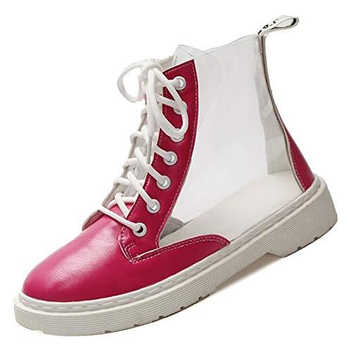 ZHZNVX ZHZNVX ZHZNVX Stivali da Combattimento in PU da Donna Stivali Tacco Basso Punta rossoonda Bianco Giallo   Rosso, Rosso, USA6.5-7   EU37   UK4.5-5   CN37 aff957