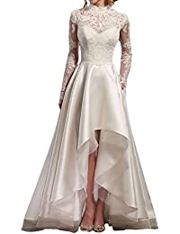 Vintage Vestidos de novia High Low Long Sleeve Lace Bridal Wedding Dresses M0154