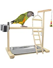 Licogel Parrot Playground Natural Wooden Fun Reusable Decorative Training Bite Proof Parrot Exercise Gym Ladder Swing Bell Bowl