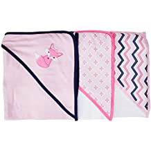 Luvable Friends Unisex Baby Cotton Terry Hooded Towels, Foxy, One Size