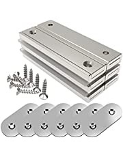 Magnetpro 6 stuks rechthoekige magneten 30 kg kracht 60 x 13,5 x 5 mm met tegenstukken en verzonken gat, huishoudelijke en industriële potmagneet met schroeven
