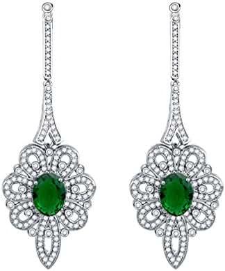 SELOVO Filigree Statement Green Long Dangle Earrings Cubic Zirconia Silver Tone