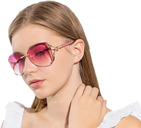 VOLCHIEN Women Shades Rimless Sunglasses Bling Frame Round Lens Sunglass Metal Frame Sunglasses for Women Men VC1012