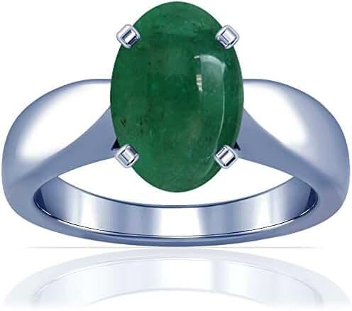 Platinum Cabochon Cut Emerald Solitaire Ring