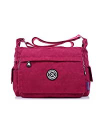 TianHengYi Womens Multiple Zipper Pockets Nylon Fabric Cross-body Shoulder Bag Light Sports Messenger Bag