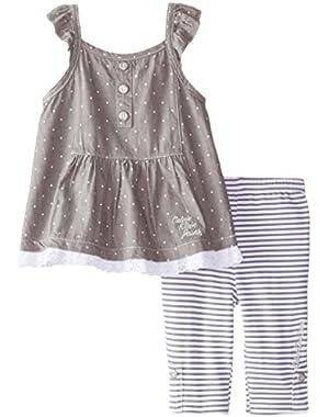 Baby Girls' Two Piece Printed Denim Tunic and Stripe Legging Set