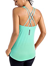 Meliwoo Women's Activewear Cool Mesh Workout Tank Tops with Cross Back