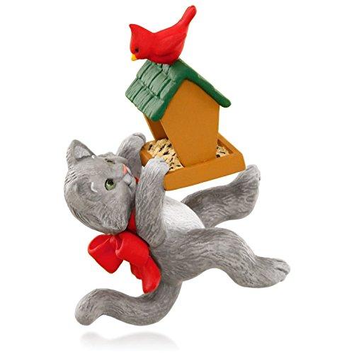 Mischievous Kittens With Bird Feeder and Cardinal Ornament 2015 Hallmark