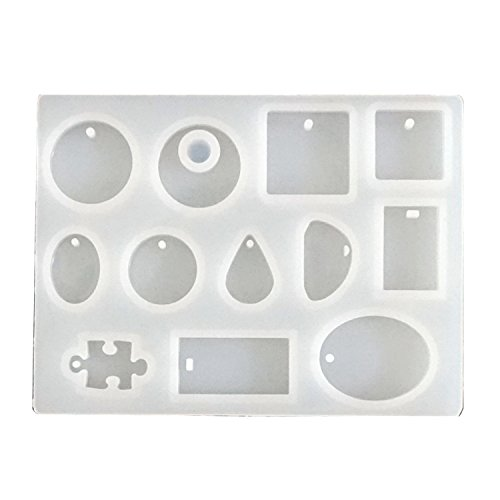 JamHoo Pendant Mold, Jewelry Pendant Making Mold Silicone Casting Mould with Hanging Hole Handmade DIY Craft Tool Translucent 12 Shapes