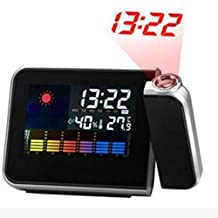 WOPS® Projection Digital Weather LCD Snooze Alarm Clock Color Display LED Backlight Clock