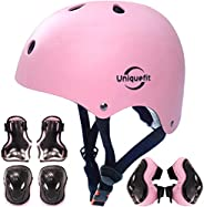Kids Boys and Girls Protective Gear Set, Outdoor Sports Safety Equipment 7Pcs Child Helmet Knee &Elbow Pad