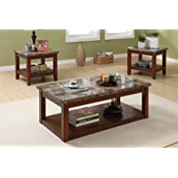 3pc Coffee Table and End Tables Set with Marble Top