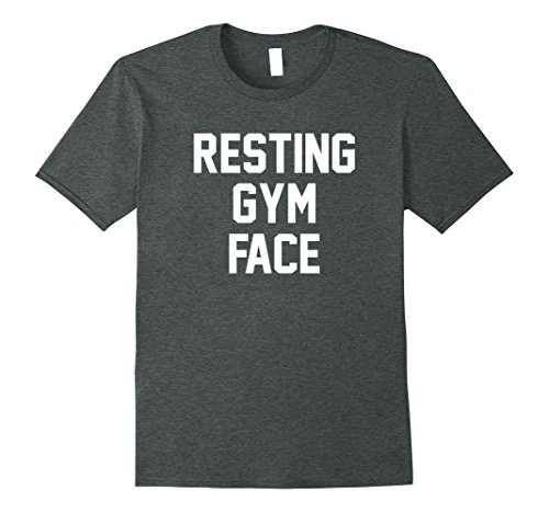 f836e605 ... Mens Resting Gym Face T-Shirt Funny Cute Women's Workout TeeShirt Large  Dark Heather ...
