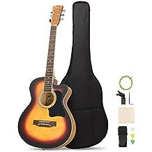 Artall 39 Inch Handmade Solid Wood Acoustic Cutaway Guitar Beginner Kit with Tuner, Strings, Picks, Strap, Matte Sunset