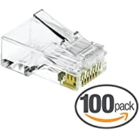 Mediabridge Cat6 Connector (Clear) - RJ45 Plug for Cat6 Ethernet Cable - 8P8C 50UM - 100 Pack (Part# 51P-C6-100PK )