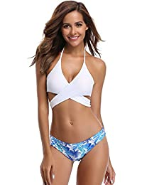 Womens Bathing Suits Floral Printing Swim Bottoms Padded Halter Bandage Bikini Two Piece Swimsuits