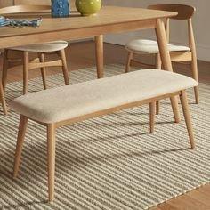 MID-CENTURY LIVING Norwegian Danish Modern Tapered Upholstered Bench (Natural)