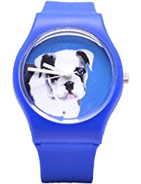 Jelly Watch Bull Dog Lover Blue Womens Unisex Face