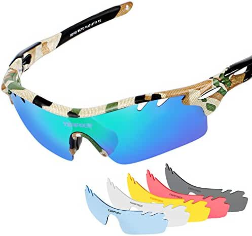 Tsafrer Polarized Sports Sunglasses with 6 Interchangeable Lenses, Tr90 Unbreakable Sunglasses for Men and Women Cycling, Driving, Running Golf