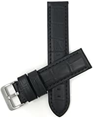 22mm wide, Black Mens Waterproof, Alligator Style Genuine Leather Watch Band Strap, Mat Finish, Also Comes in...