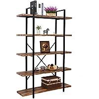 IRONCK Bookshelf, 5-Tier Shelving Unit Metal-Wood...