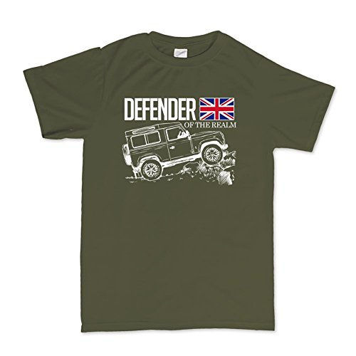 Defender Of The Realm Off Road Land Rover Fans T-shirt Mens