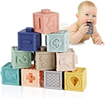 Mini Tudou Baby Blocks Soft Building Blocks Toys Educational Squeeze Teether Montessori Toy w/ Numbers Animals Shapes...