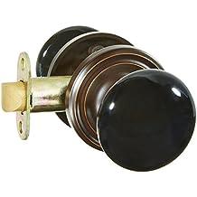 Classic Rosette Set With Black Porcelain Door Knobs Privacy In Oil Rubbed Bronze. Doorsets.