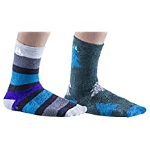 Mens Premium Softest Plush Fuzzy Socks, Non-Skid Sole