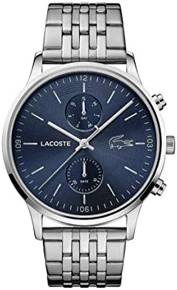 Lacoste Madrid men's quartz watch with stainless steel strap, silver, 22 (model: 2011067)