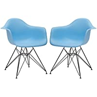 Poly and Bark Eames Style Molded Plastic Eiffel Armchair (DAR) with Black Coated Legs, Blue, Set of 2