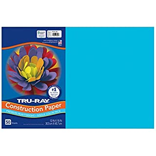 "Tru-Ray Heavyweight Construction Paper, Atomic Blue, 12"" x 18"", 50 Sheets"