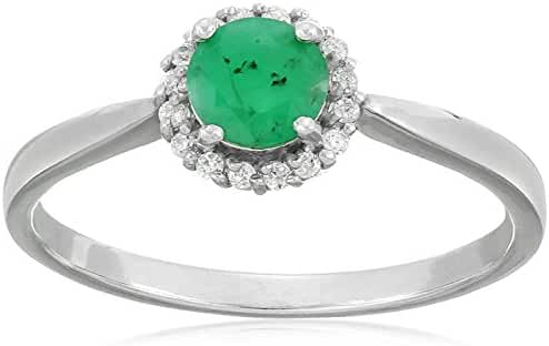 Sterling Silver Halo Emerald and Cubic Zirconia Ring, Size 7