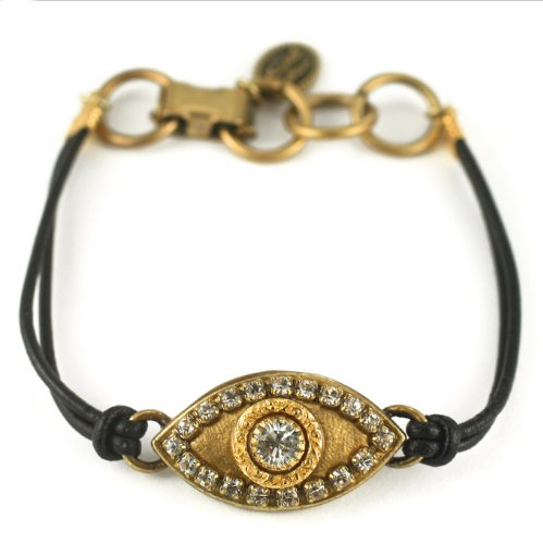 Michal Golan Gold Plated Evil Eye Bracelet with Clear Swarovski Crystals on Black Leather Cord