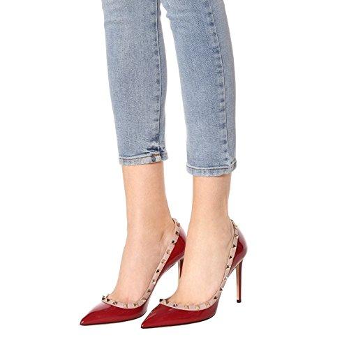Chris-T Women's Studded Stiletto High Heels Rivets Shoes Pointed Toe Slip On Pumps 5-14 US B07CXV48S3 12 B(M) US|Wine