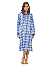 Casual Nights Women's Plaid Long Sleeve Zip Up Long Nightgown