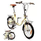 K-ROCK Bicicleta Plegable R16 Ligera Retro Estilo Vintage Rin 16 Pulgadas