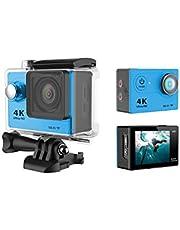 كاميرا فيديو اكشن رياضية دي في مضادة للماء حتى عمق 30 متر H9 4K اتش دي 1080P مزودة بالواي فاي - لون ازرق
