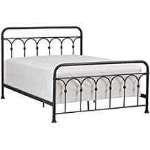 "Stone & Beam Vintage Ari Arced Metal Steel Queen Bed Frame, 65.5""W, Aged Black Iron"
