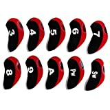 kesoto 10pcs/Pack Golf Club Head Cover Wedge Iron Protective Headcover Visible Hole for Golf Hobby People