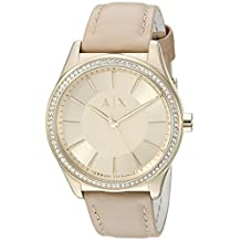 Armani Exchange Gold-tone Dial Beige Leather Strap Ladies Watch AX5443