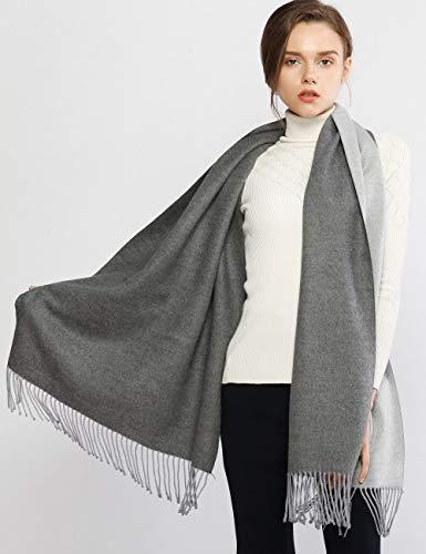 LeoIn Women Long Warm Winter Cashmere Soft Scarf 2 Tone Shawls Wraps (Double Side Grey)