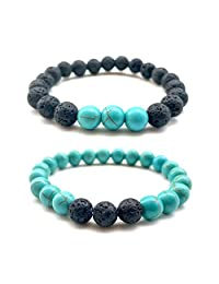 OUSHE 2PCS Natural Gemstone Lava Beads 8mm Turquoise Agate Bracelet Lava Stone Essential Oil Yoga Healing Stretch Bangle for Women