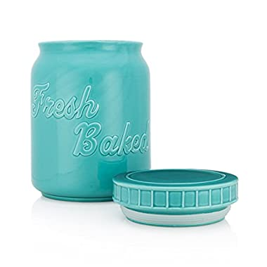 Vintage Ceramic Mason Cookie Jar | Extra Wide Design with Stay-Fresh Lid