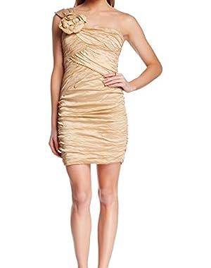BCBG Max Azria Women's Sheath Anett One Shoulder Dress Gold 0
