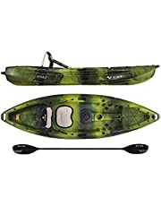 Vibe Kayaks Skipjack 90 9 Foot Angler and Recreational Sit On Top Light Weight Fishing Kayak with Paddle and Seat and 2 Flush Rod Holders and Built in Storage